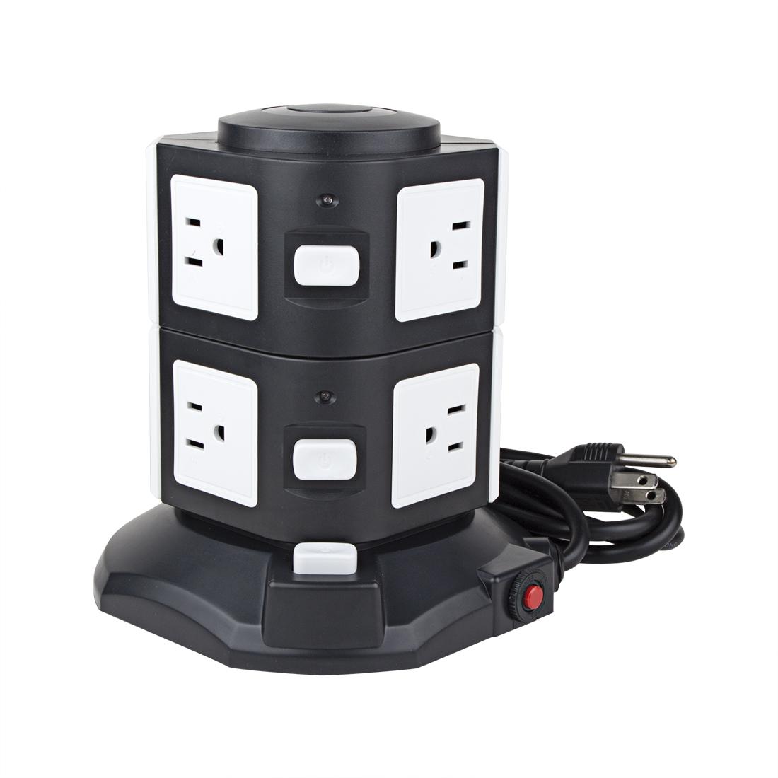 AC 110V US Plug Vertical Smart Socket 6 US Outlet 4 USB Ports 6 Ft Cable White Black