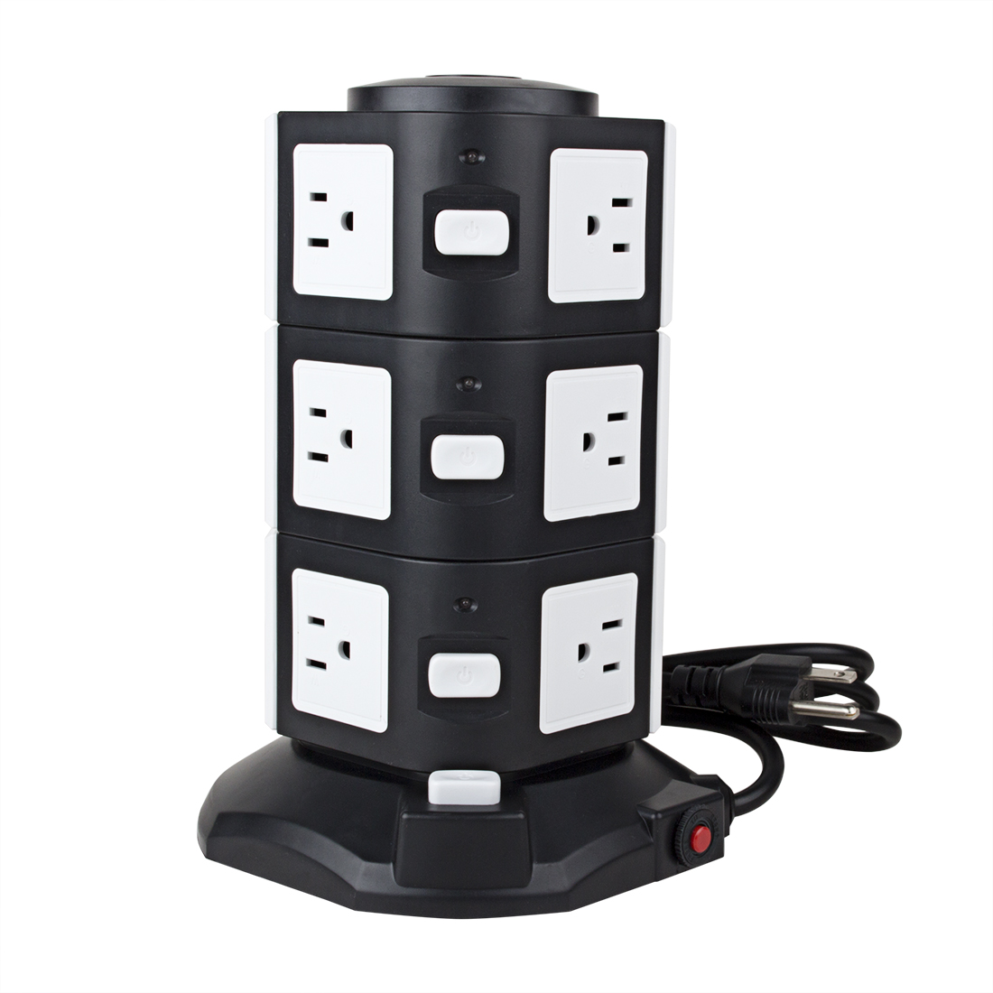 AC 110V US Plug Vertical Smart Socket 10 US Outlet 4 USB Ports 6 Ft Cable White Black
