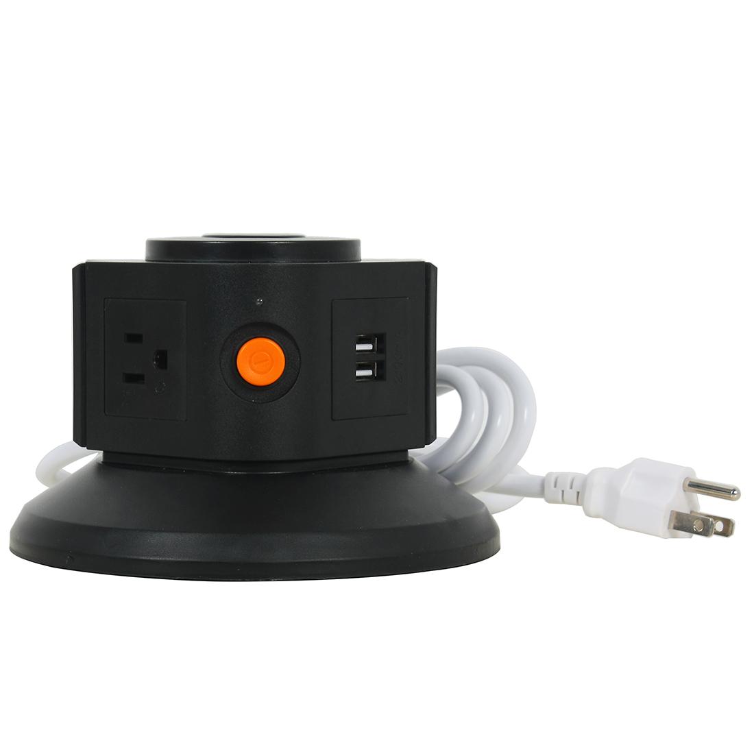 AC 110V US Plug Vertical Smart Socket 3 US Outlet 2 USB Ports 6 Ft Cable Black