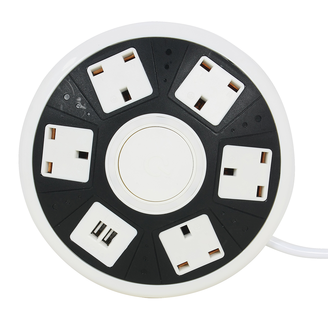 AC 250V UK Plug UFO Shape Power Outlet 5 UK Sockets 2 USB Outputs 6 Ft Cable White Black