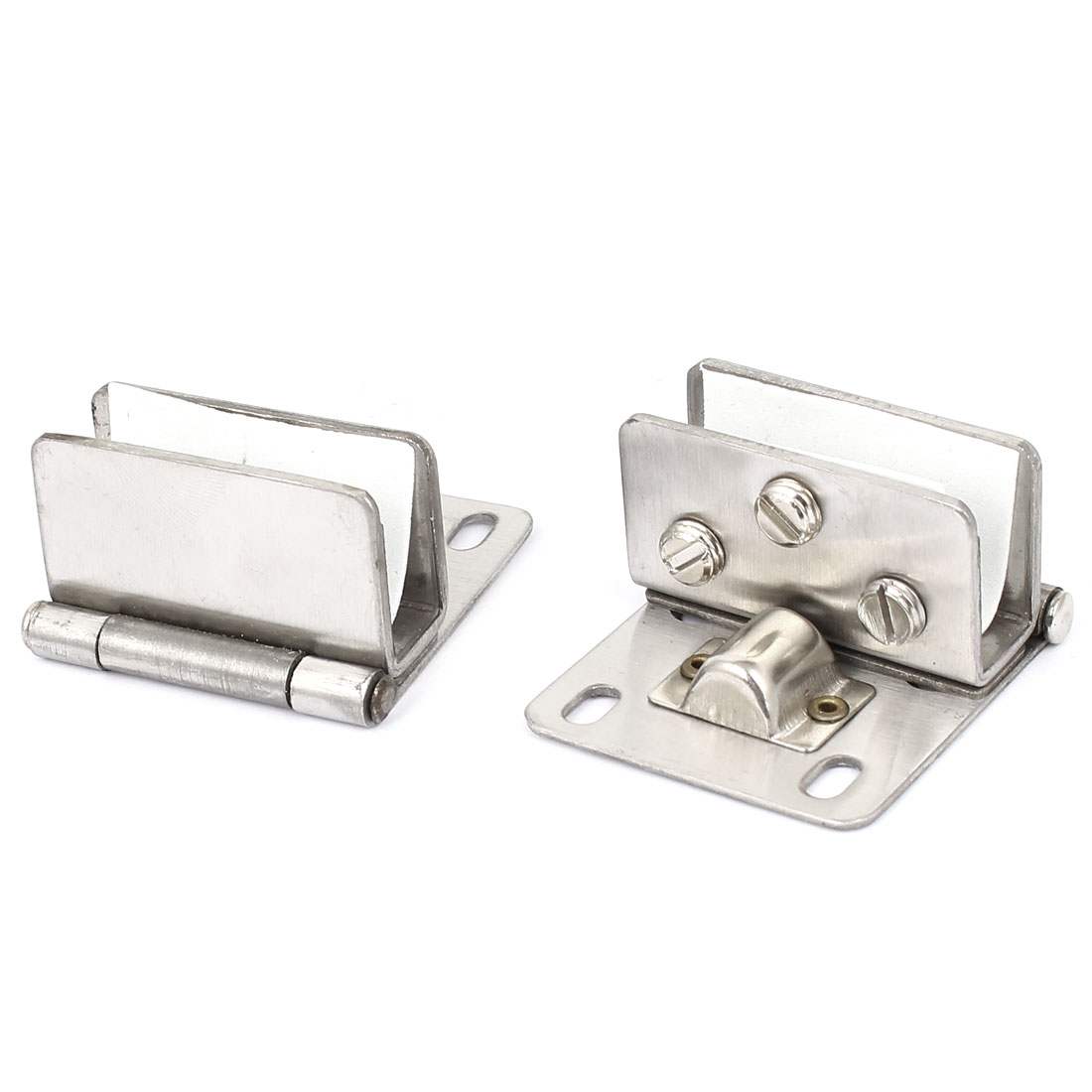 Wall Mount Adjustable Square Shelf Glass Door Clip Clamp Silver Tone 2pcs