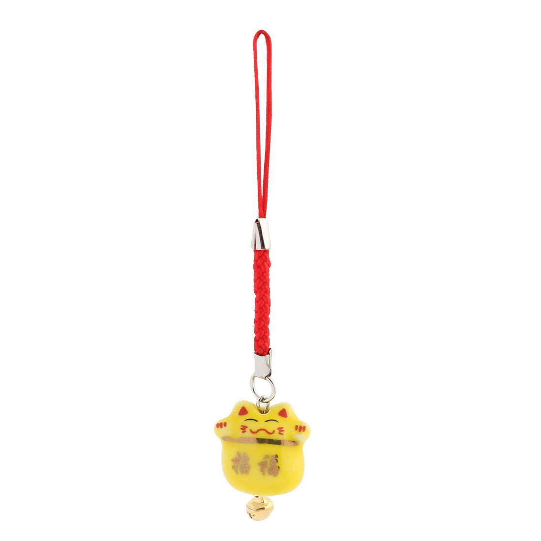 Ceramic Maneki Neko Tinkle Bell Pendant Mobile Phone Strap Decor 95mm Length Yellow