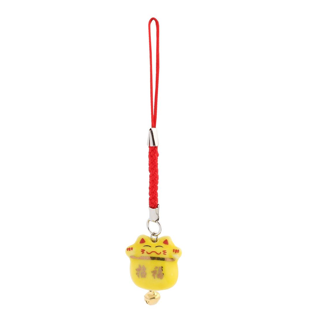 Ceramic Maneki Neko Tinkle Bell Pendant Mobile Phone Strap Decor 95mm Length Yellow