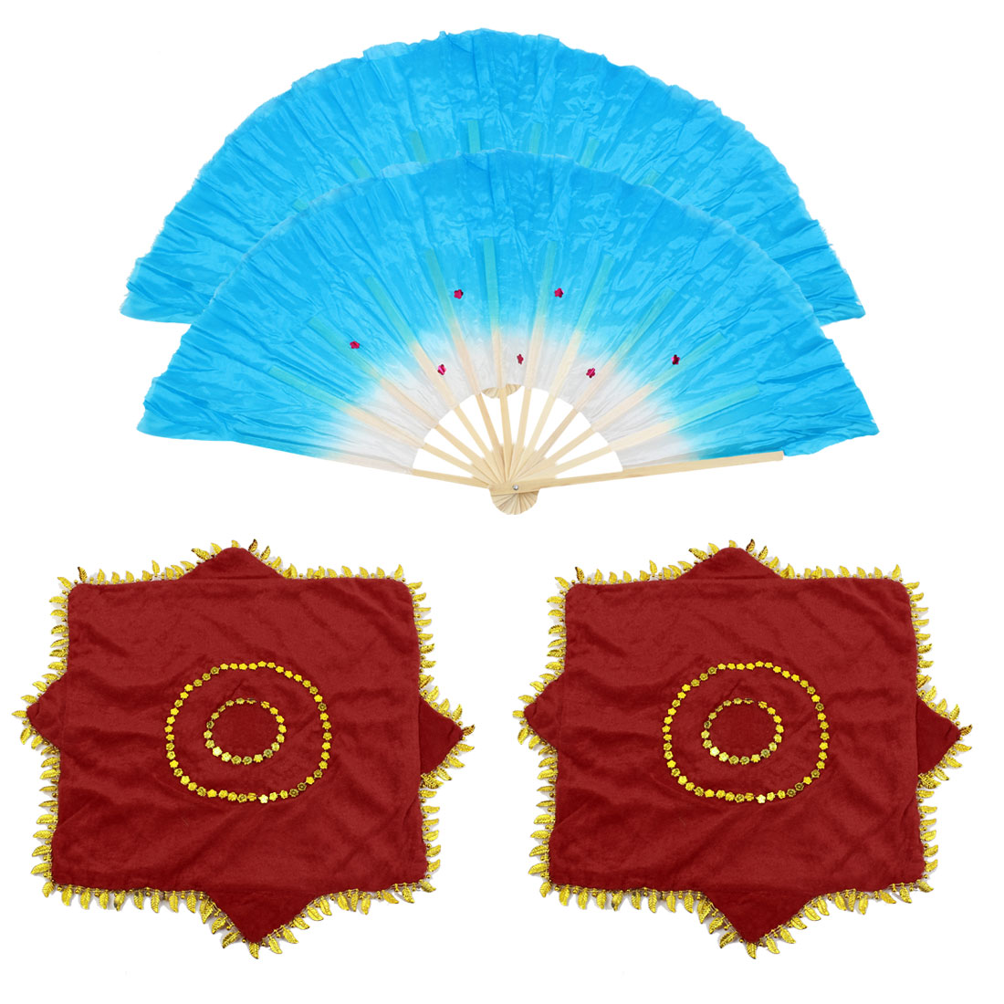 Bamboo Ribs Fabric Foldable Chinese Folk Dancing Fan Leaves Hem Handkerchief Blue 2 Sets