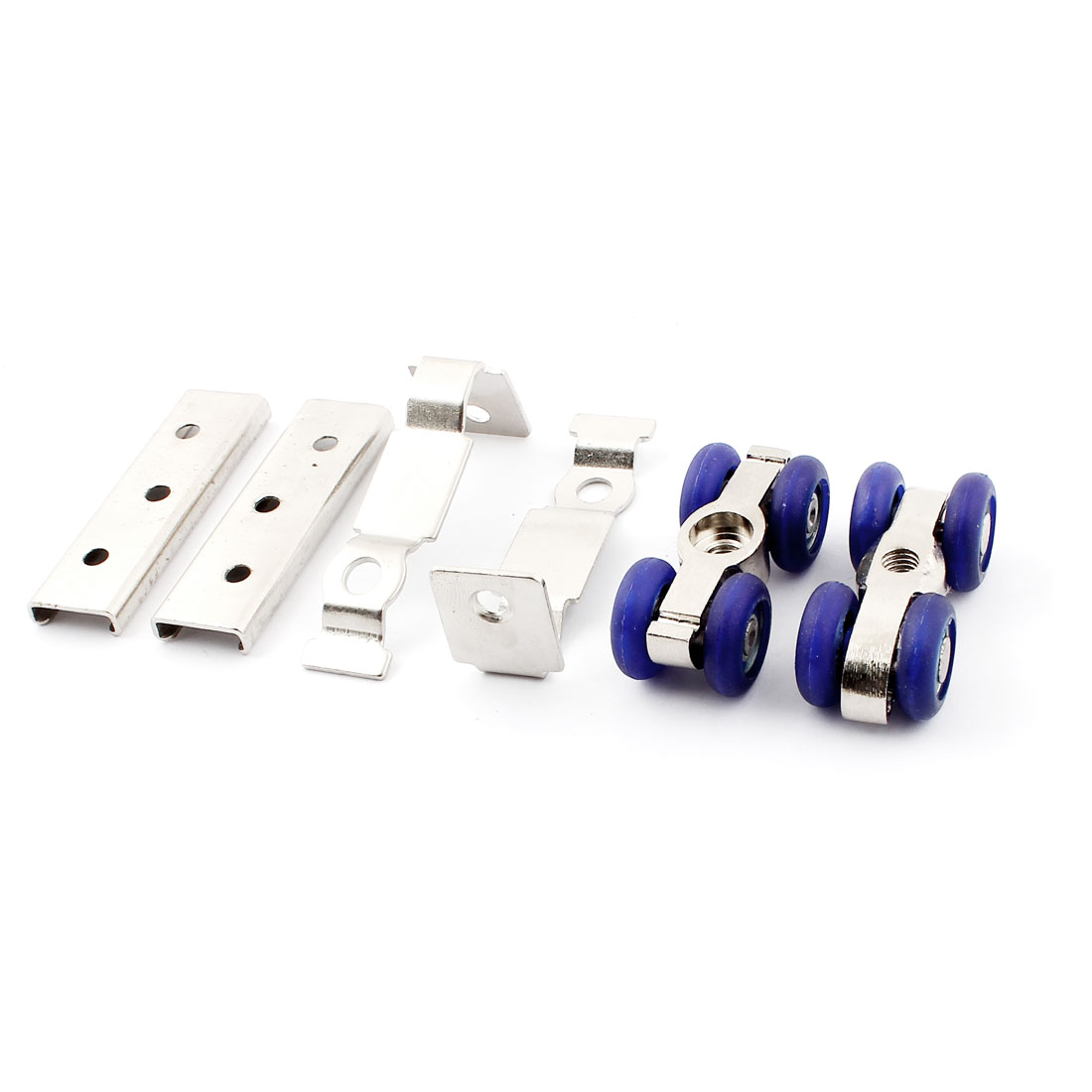 Cabinet Door Blue Plastic Double Wheels Roller Sliding Pulley 2pcs
