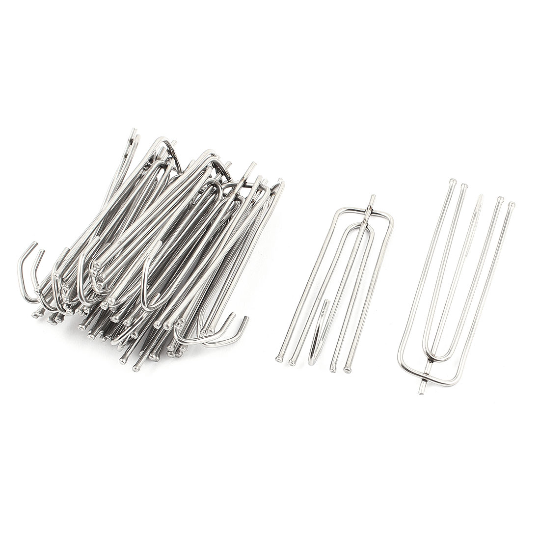 Silver Tone Metal Curtain Drapery Hooks Holder Window Treatment 16pcs