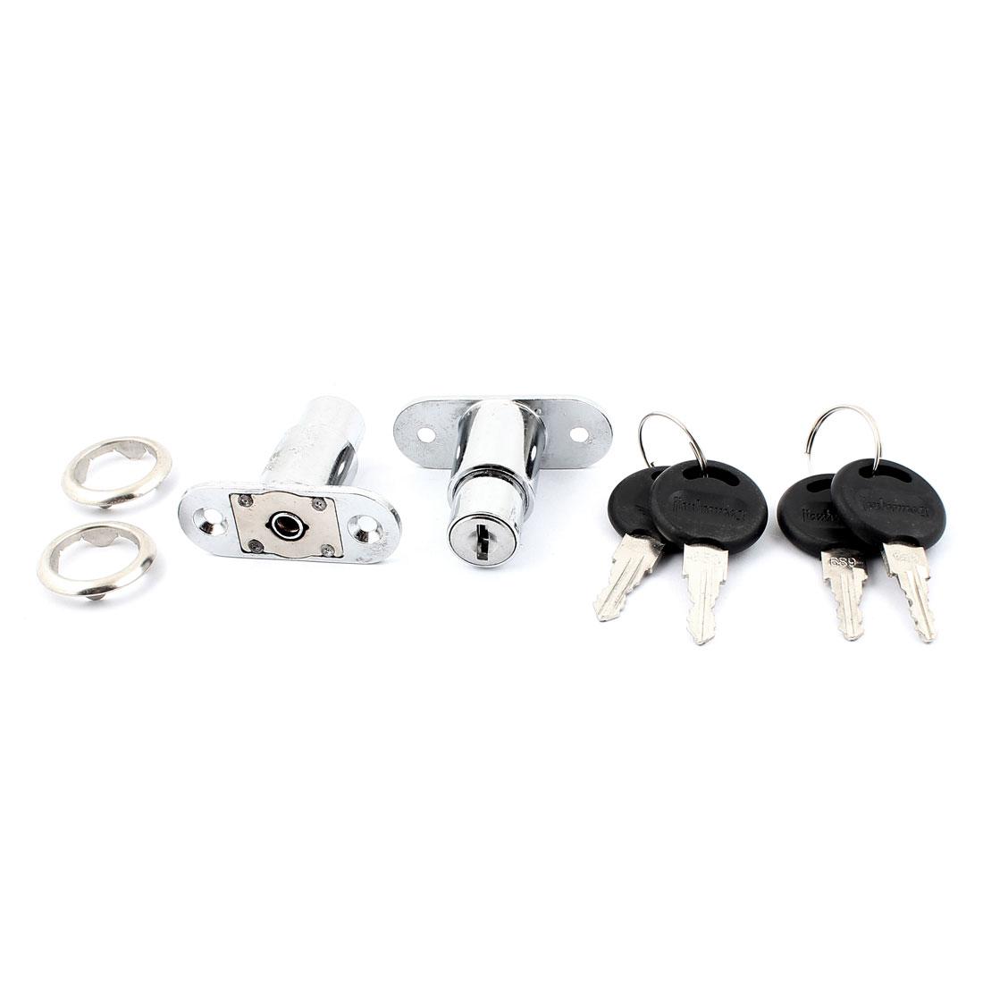 Cabinet Mailbox Drawer Metal Keyed Cam Lock Locker Silver Tone 2pcs