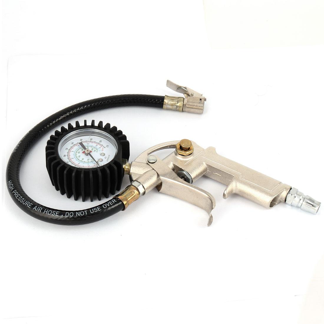 Car Vehicle Tire Inflator Gun 0-15 Bar 0-220Psi w Pressure Gauge