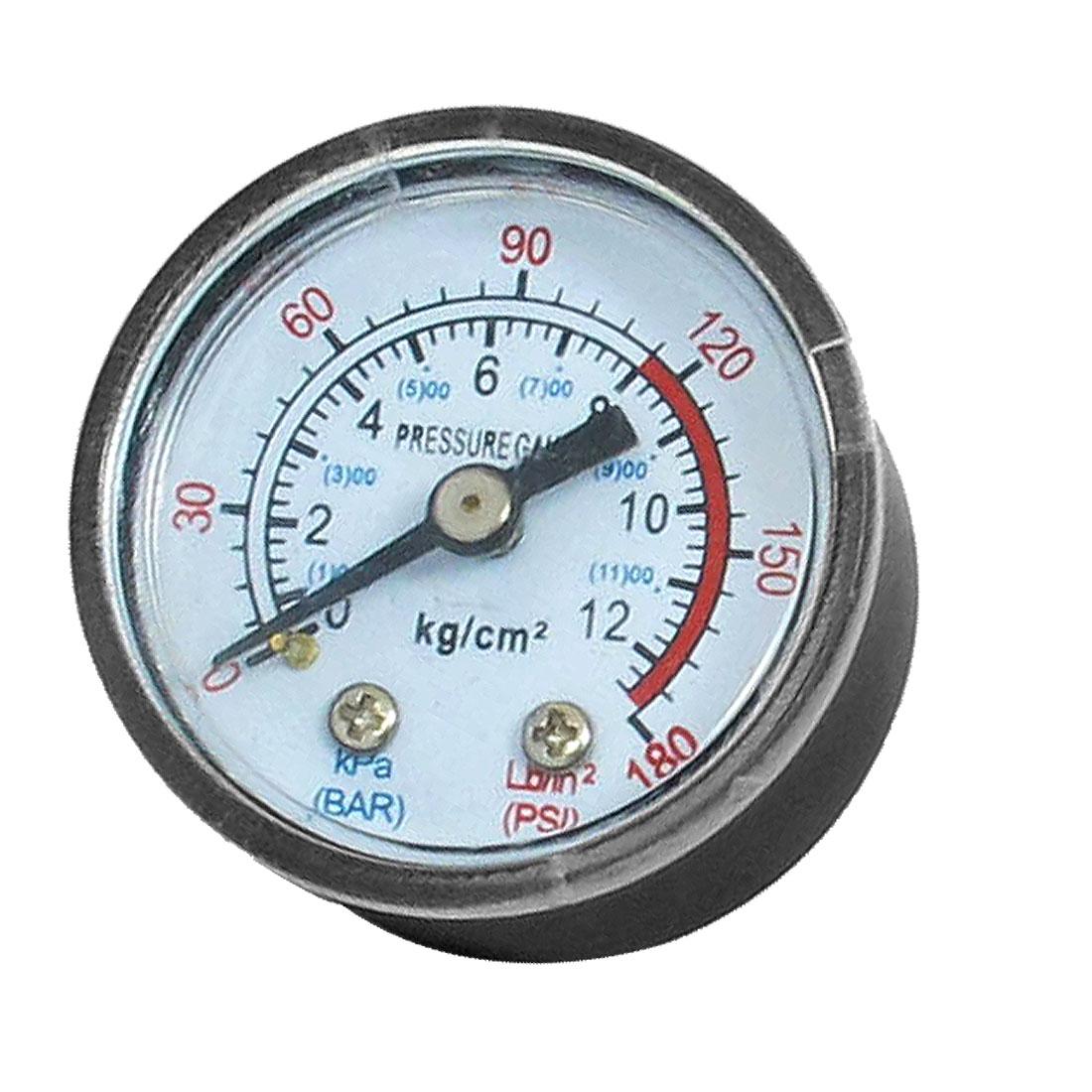 1/8BSP Air Compressor Hydraulic Back Mount Pressure Gauge 0-180 PSI