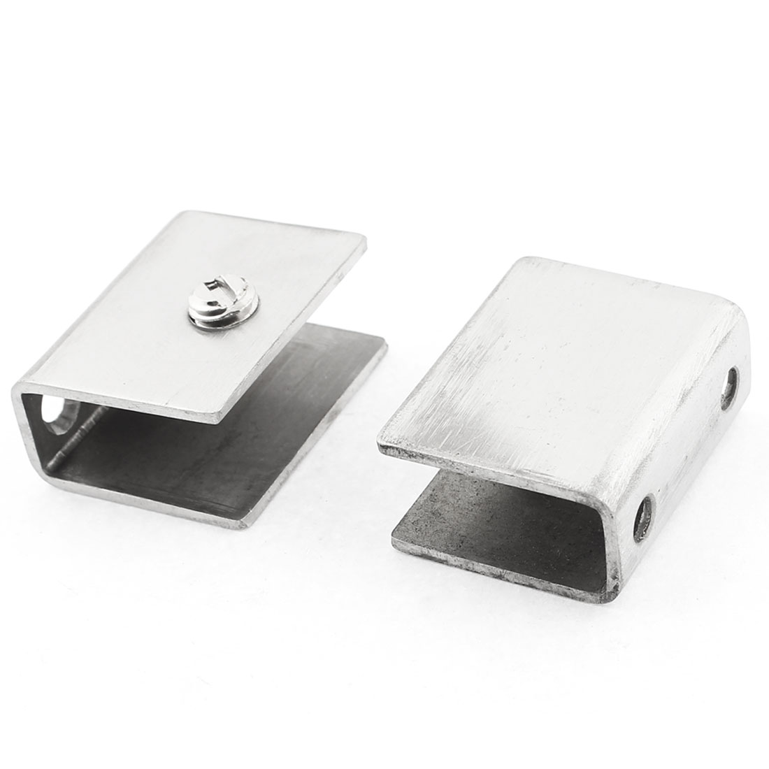 Rectangle Shape Glass Shelf Clamp Clips Holder Bracket Hardware 2pcs