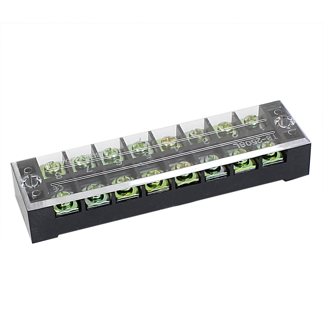 600V 25A Dual Row 8 Positions Screw Terminal Barrier Strip Block