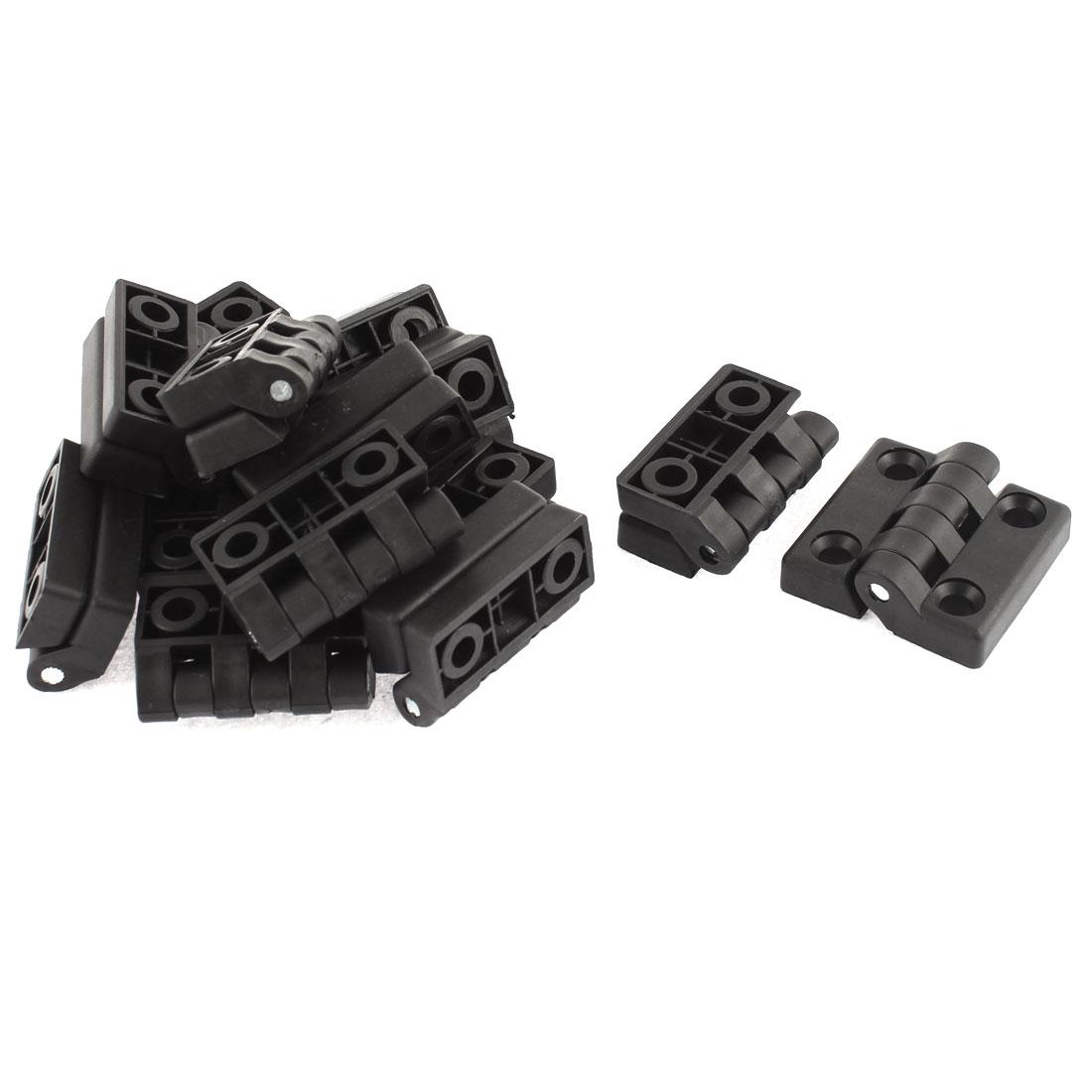 50mmx50mm 2 Leaves Plastic Door Bearing Butt Hinge Black 14pcs