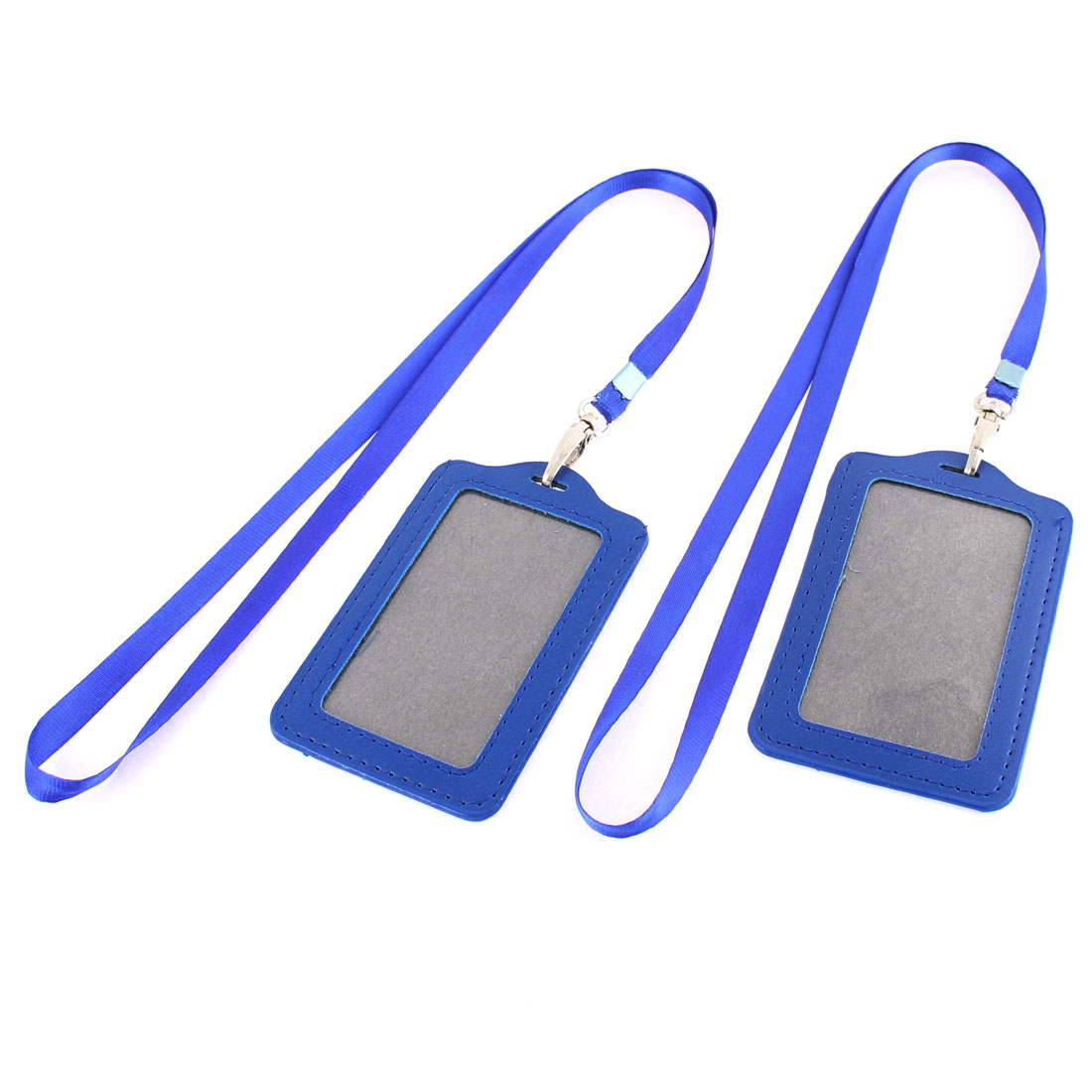 Blue Faux Leather Lanyard Vertical Design Card ID Badge Holder w Strap 2pcs