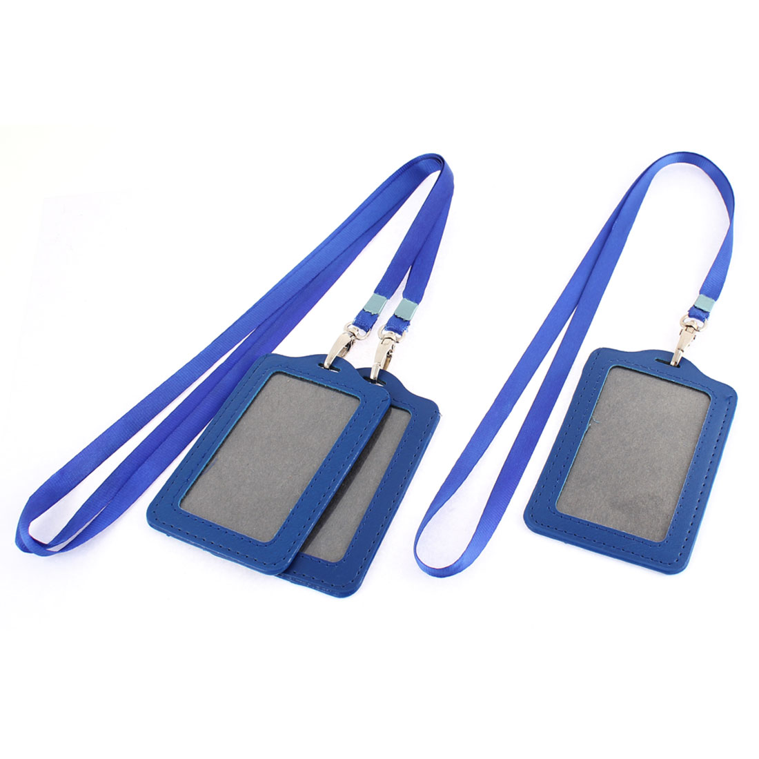 Blue Vertical Lanyard Business ID Card Badge Holder 3pcs