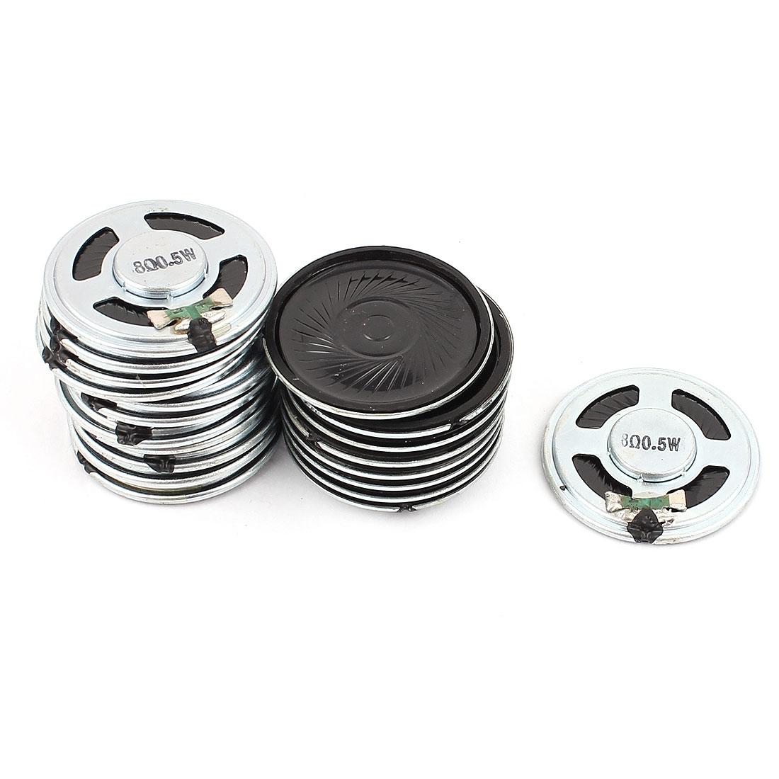 20 Pcs 40mm 8 Ohm 0.5W Metal Shell External Magnetic Speaker Loudspeaker Silver Tone