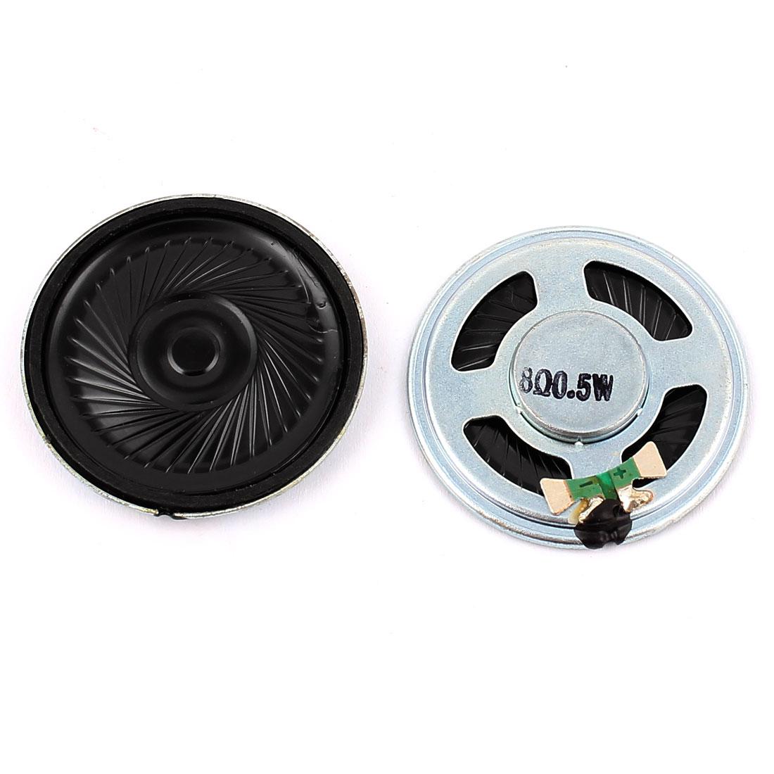 2 Pcs 40mm 8 Ohm 0.5W Metal External Magnetic Speaker Loudspeaker Silver Tone