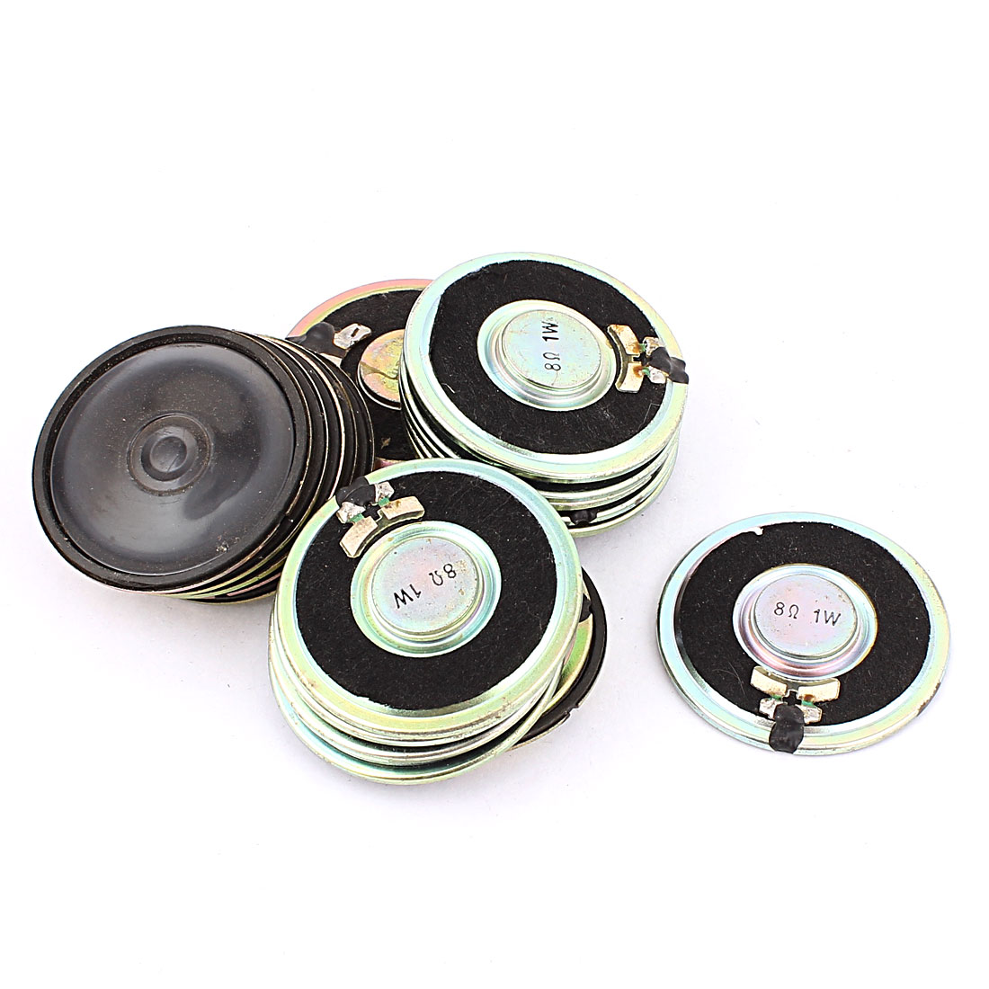 20 Pcs 45mm 8 Ohm 1W Metal External Magnetic Speaker Loudspeaker Silver Tone