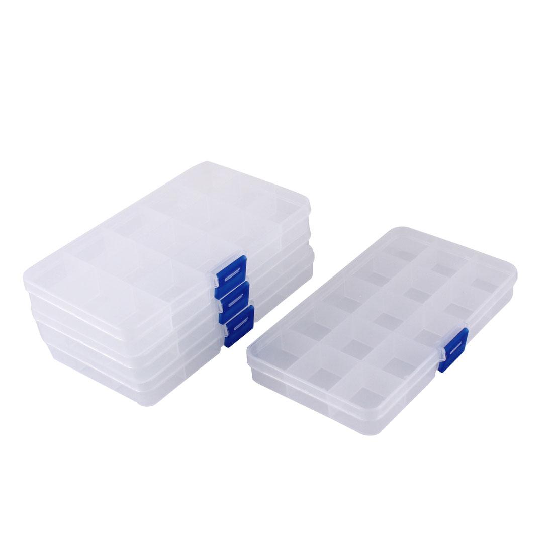 Plastic 15 Grid Electronic Components Storage Box DIY Case 4pcs