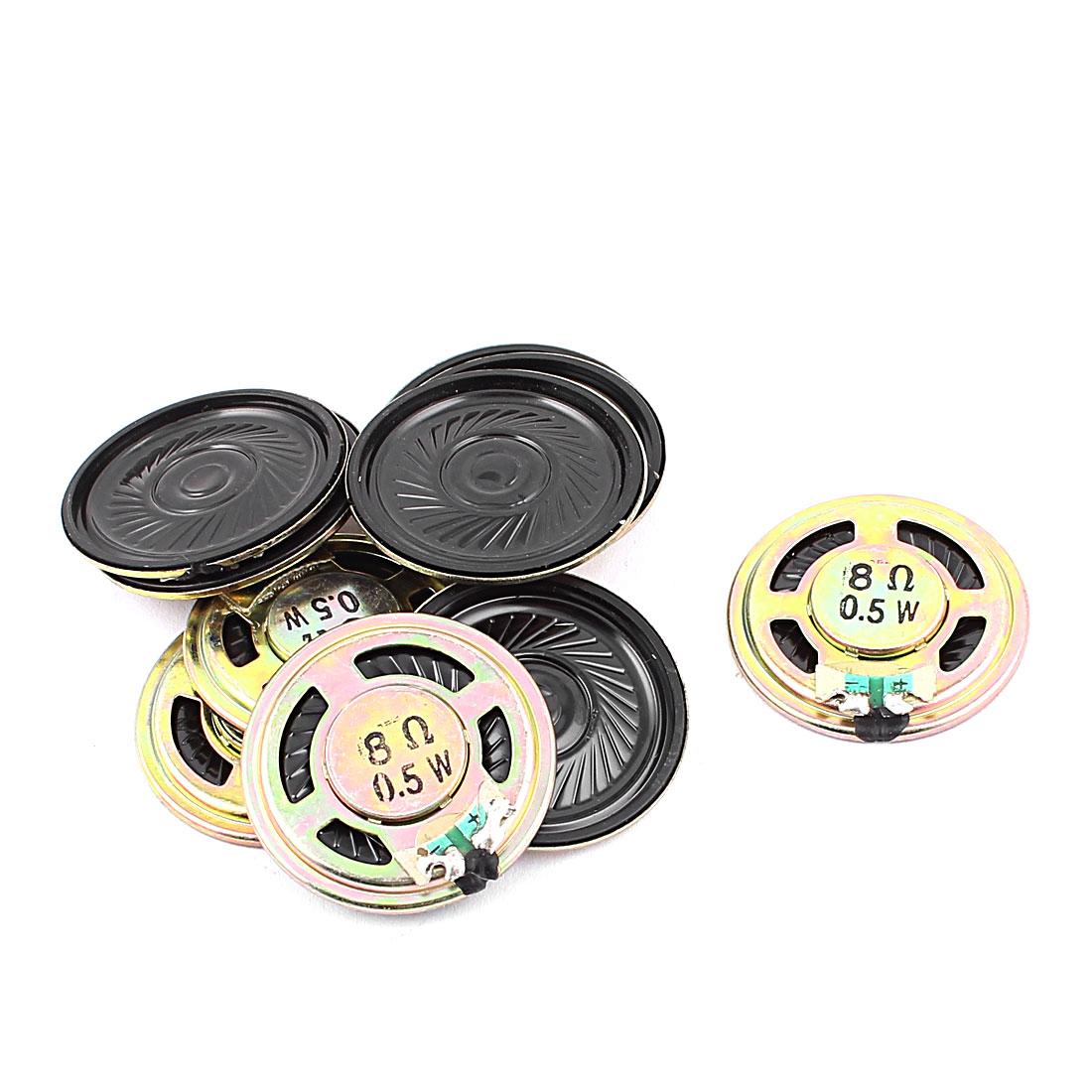 10 Pcs 36mm 8 Ohm 0.5W Metal External Magnetic Speaker Loudspeaker Gold Tone