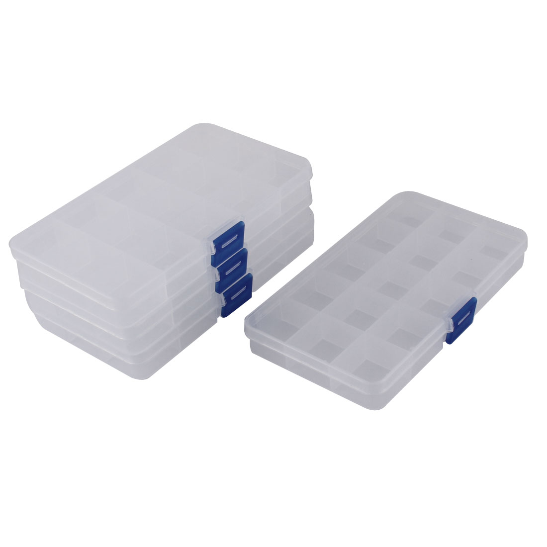 Clear Plastic 15 Compartments Electronic Component Storage Box Case 4pcs