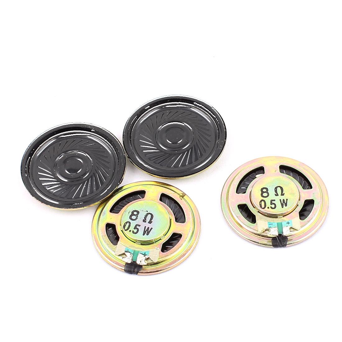4 Pcs 36mm 8 Ohm 0.5W Metal External Magnetic Speaker Loudspeaker Gold Tone