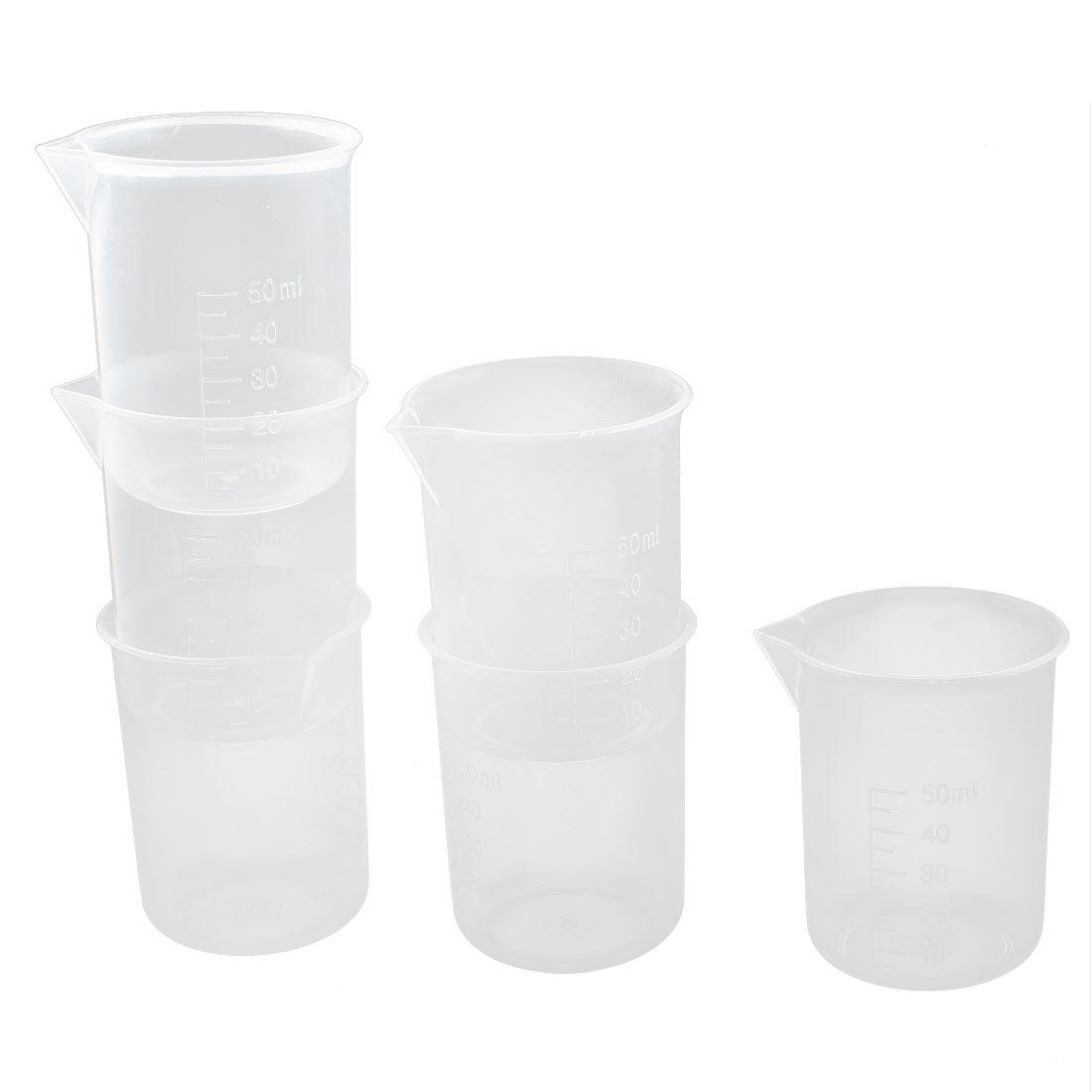 Kitchen Lab 50ml Clear Plastic Graduated Beaker Measuring Cups Tool 6pcs