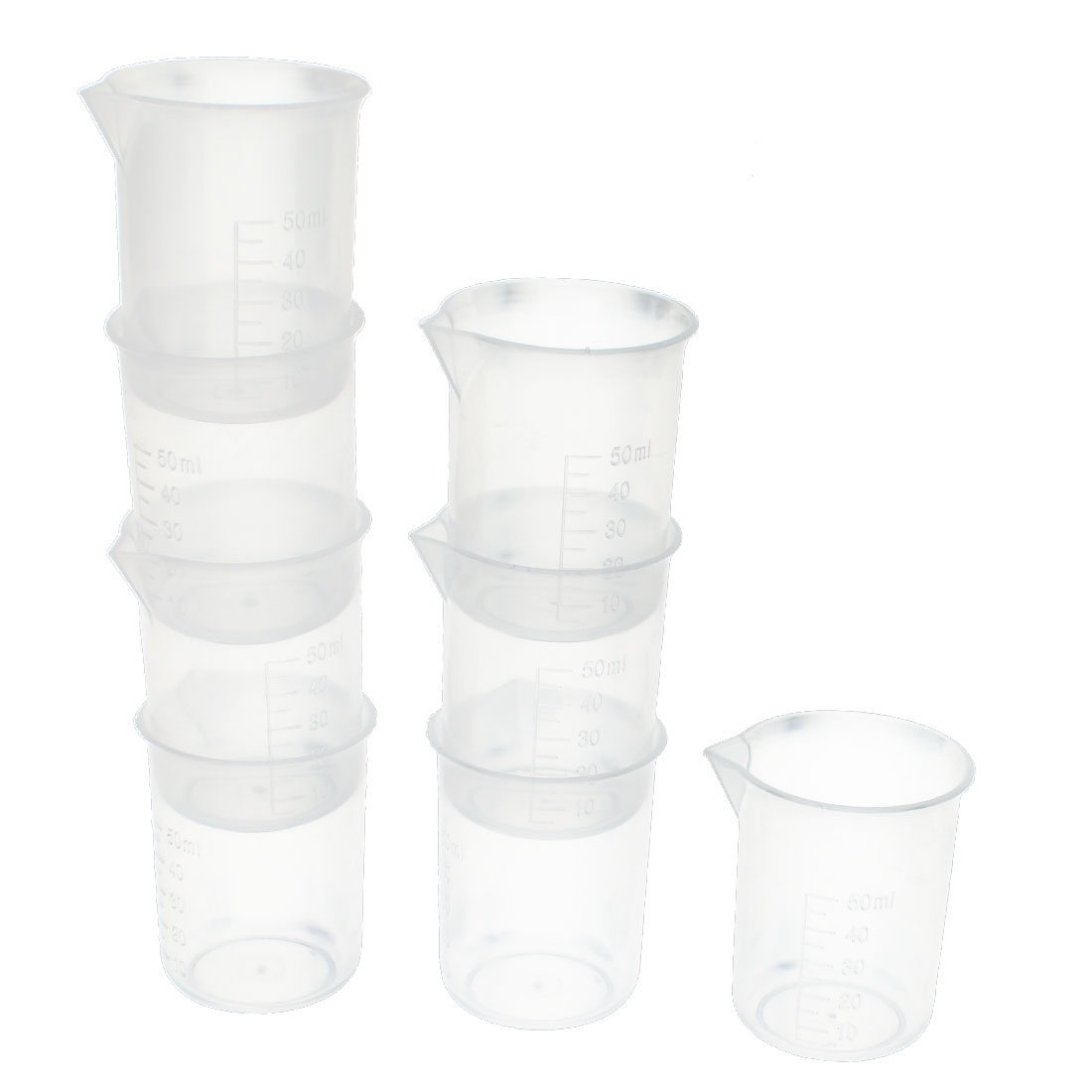 Clear Plastic Graduated 50ml Capacity Measuring Cups Container Holder 8pcs