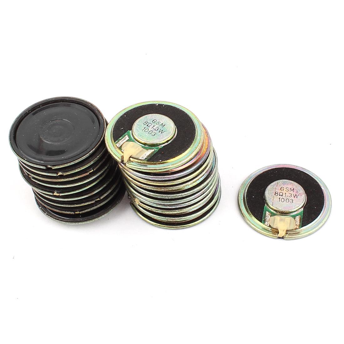 20 Pcs 36mm 8 Ohm 1.3W Metal Shell External Magnetic Speaker Loudspeaker Gold Tone