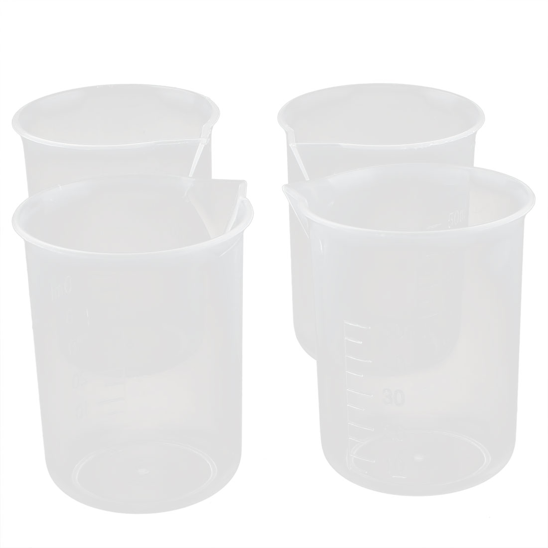 Kitchen Lab Transparent Plastic Graduated Measuring Cup Beaker Tool 4pcs