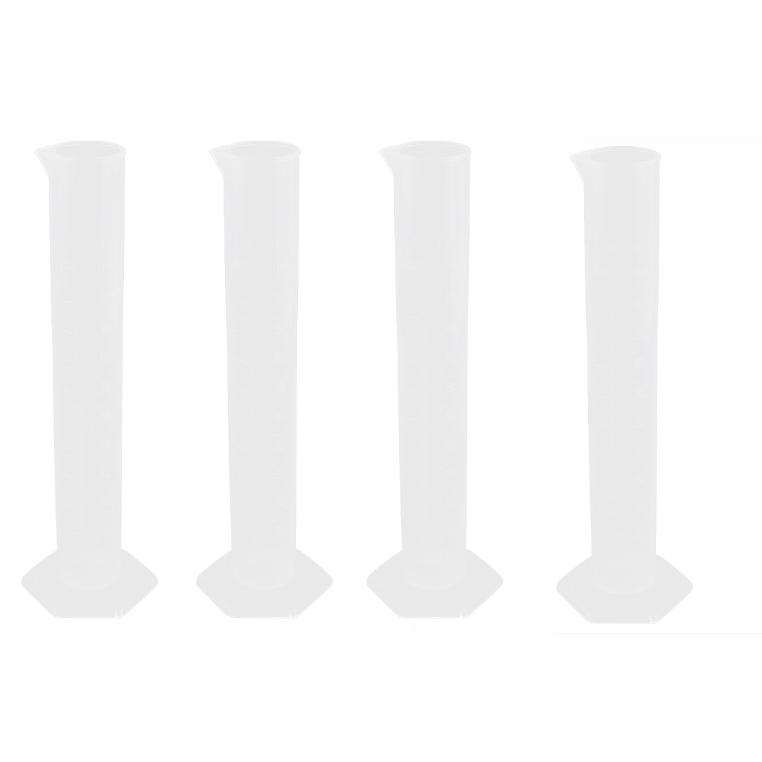 Lab Clear Plastic Measuring Graduated Cylinders Beakers 100ml 4pcs