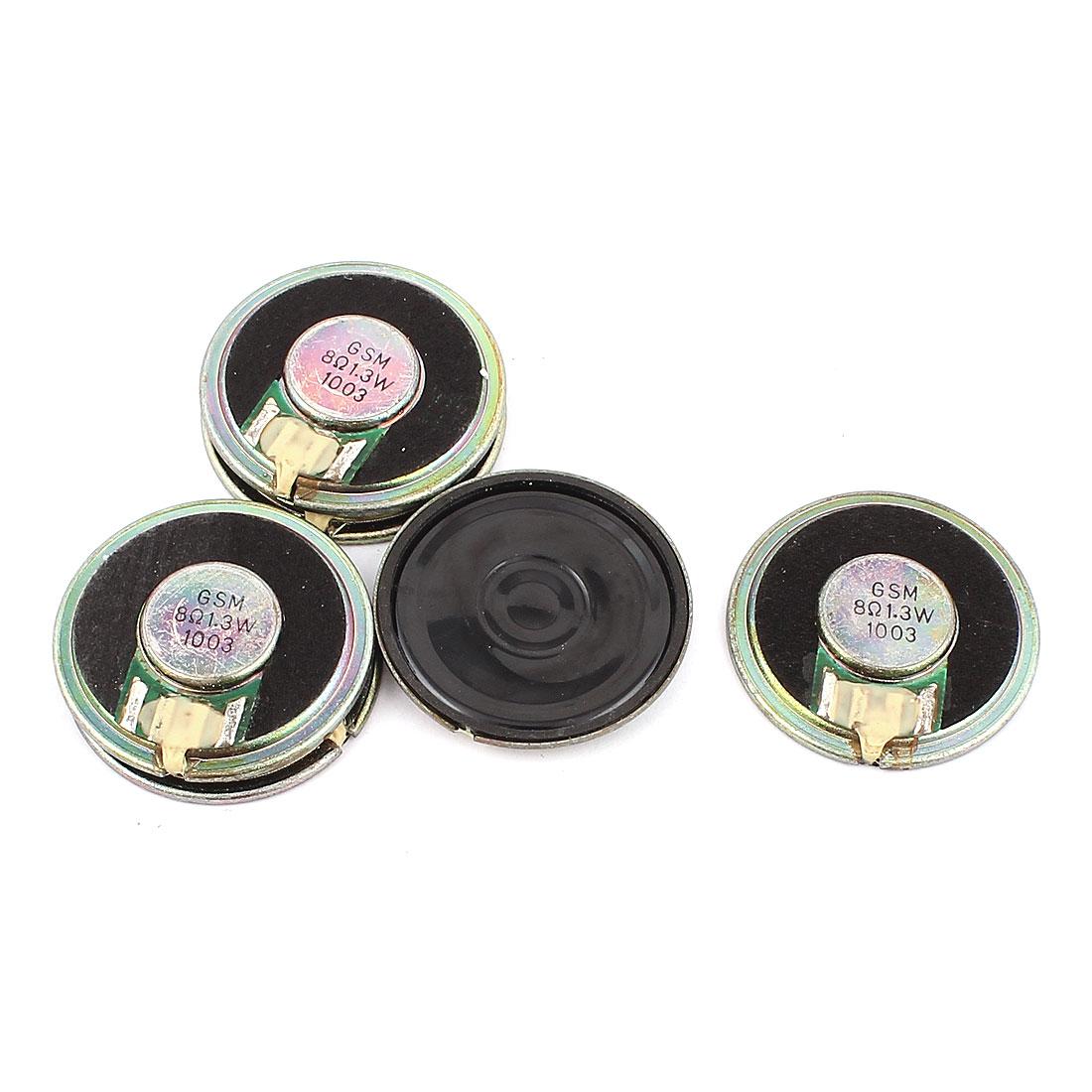 6 Pcs 36mm 8 Ohm 1.3W Metal Shell External Magnetic Speaker Loudspeaker Gold Tone