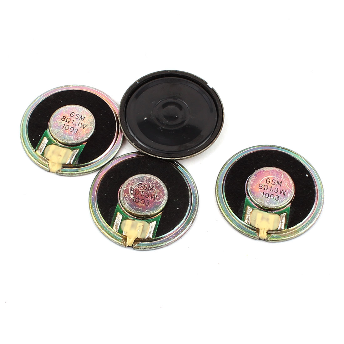 4 Pcs 36mm 8 Ohm 1.3W Metal Shell External Magnetic Speaker Loudspeaker Gold Tone
