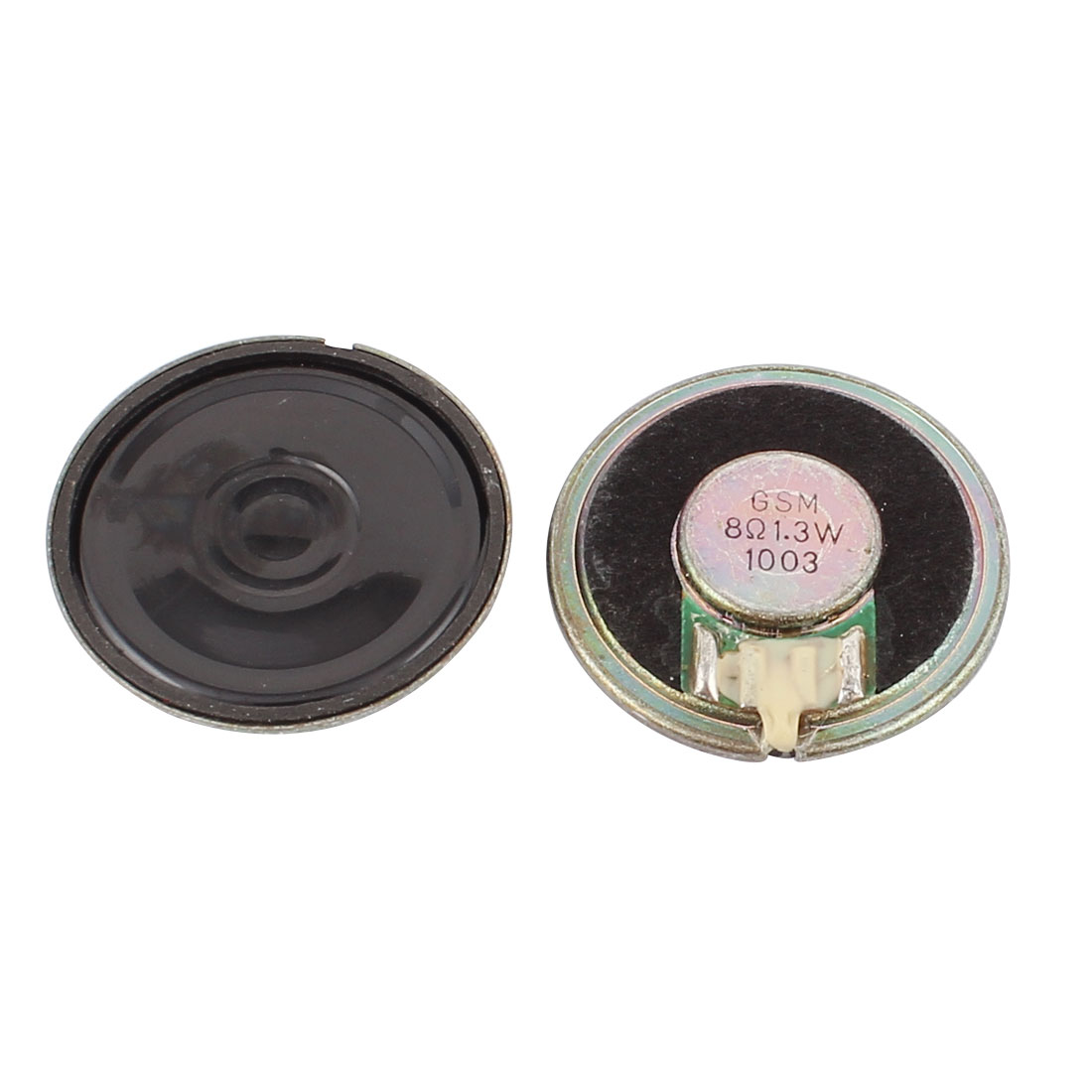 2 Pcs 36mm 8 Ohm 1.3W Metal Shell External Magnetic Speaker Loudspeaker Gold Tone
