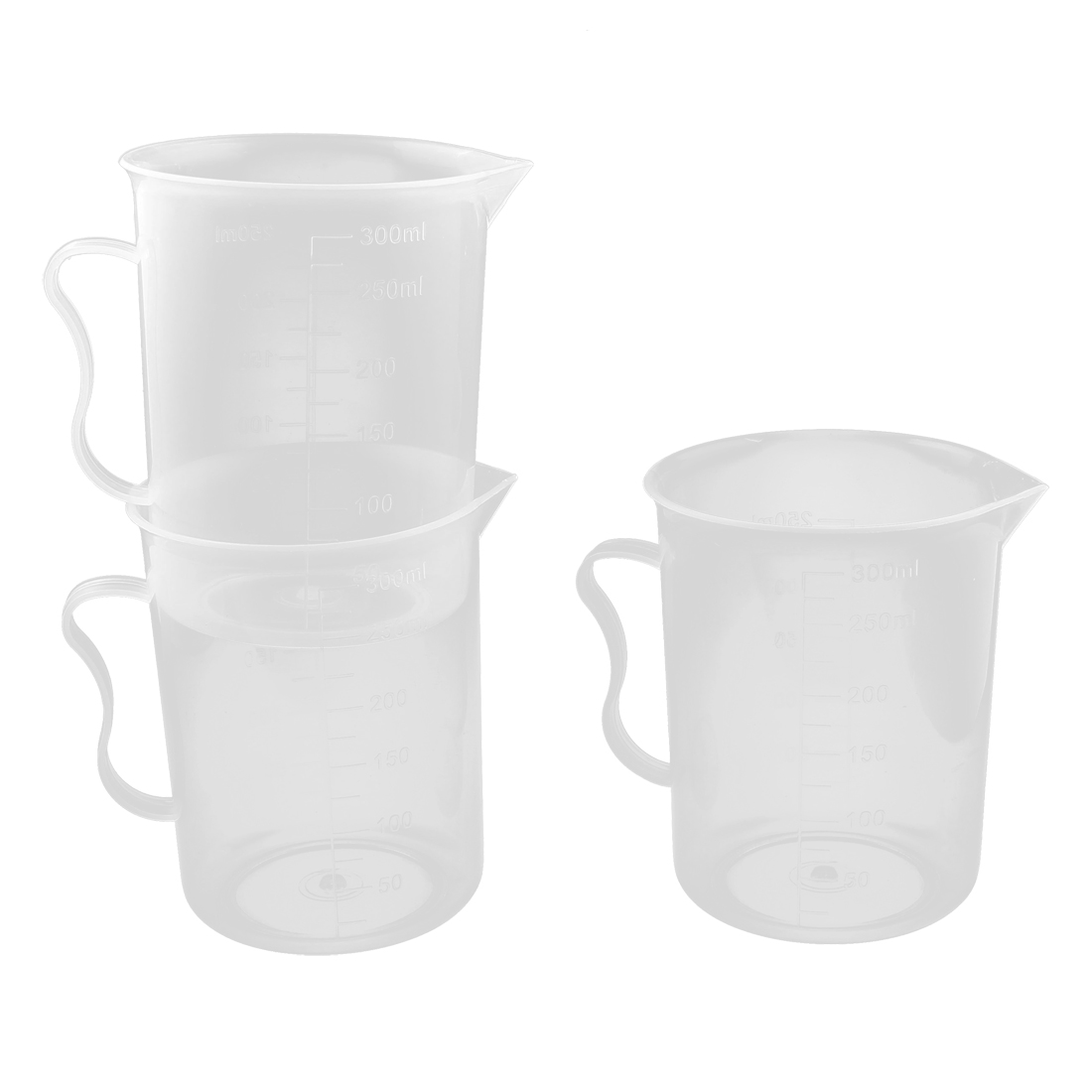 Lab Clear Plastic Beaker Graduated Measuring Cups Tools Container 3pcs