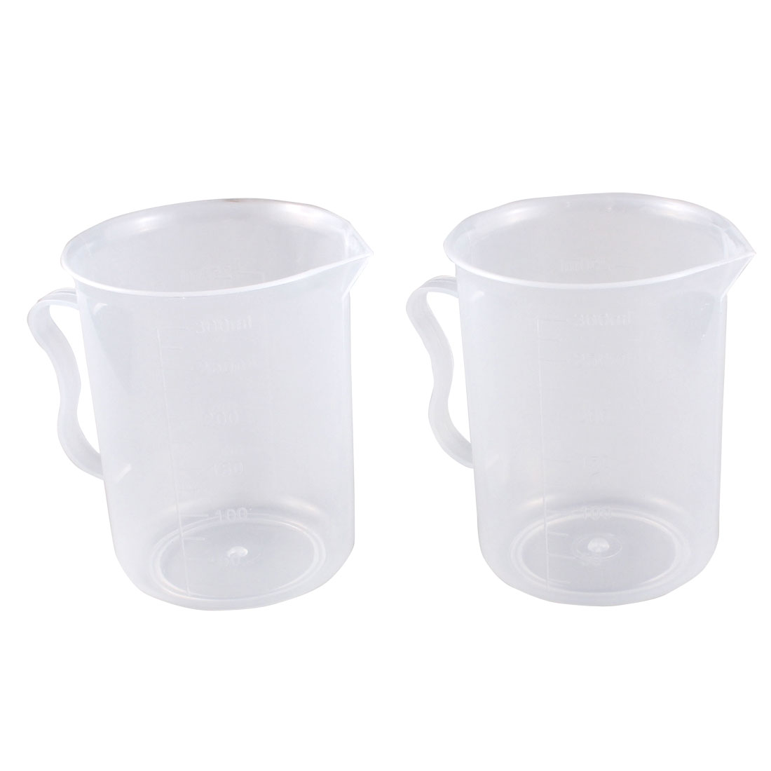 2pcs 300ml Clear Plastic Handle Graduated Beaker Measuring Cups Container
