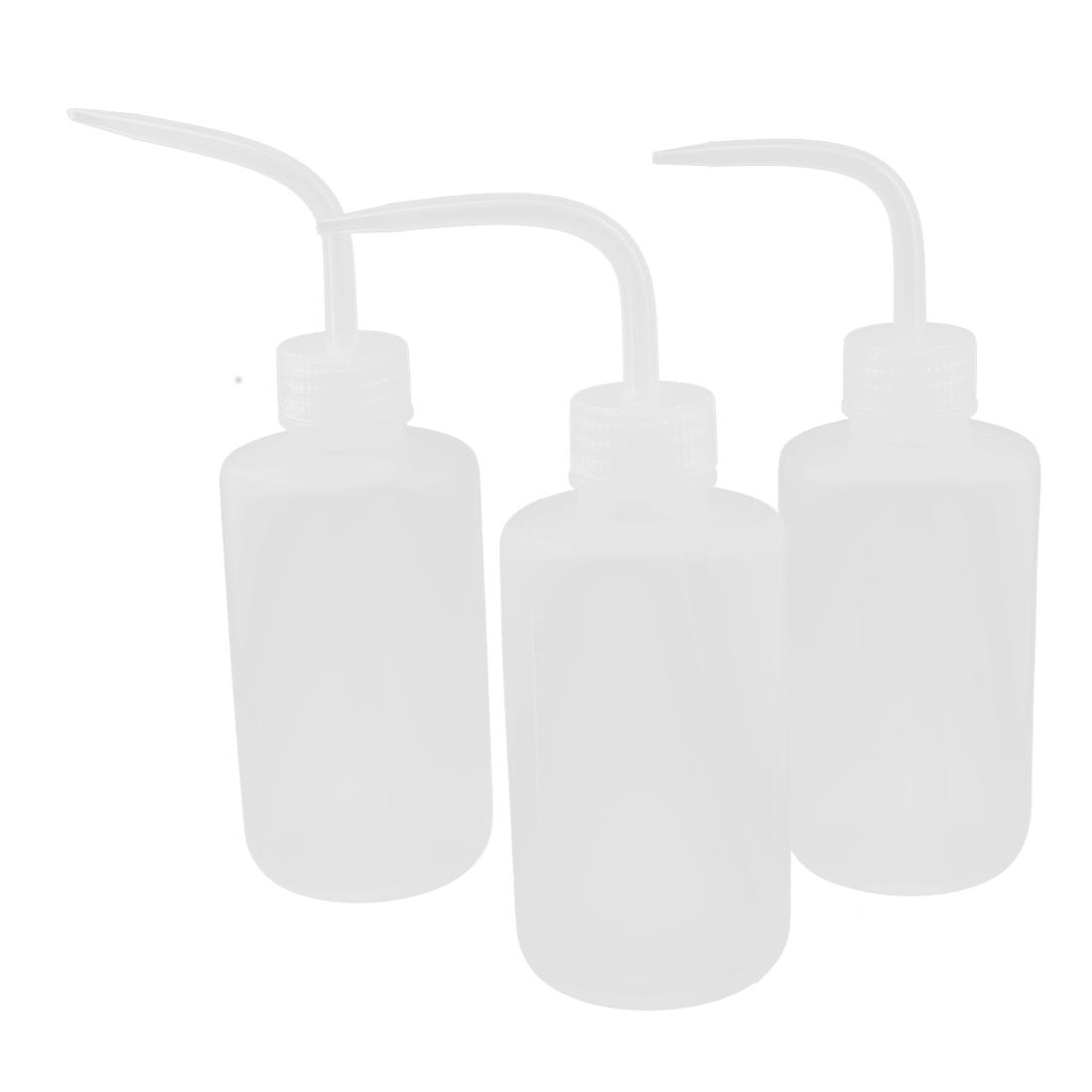 Clear Plastic Bent Tip Oil Liquid Squeeze Bottle Dispenser 250ml 3pcs