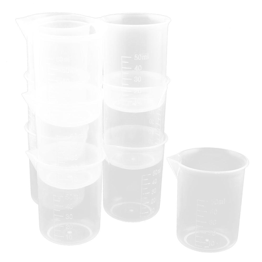 10pcs 50mL Clear Plastic Liquid Graduated Measuring Cups Holder Container