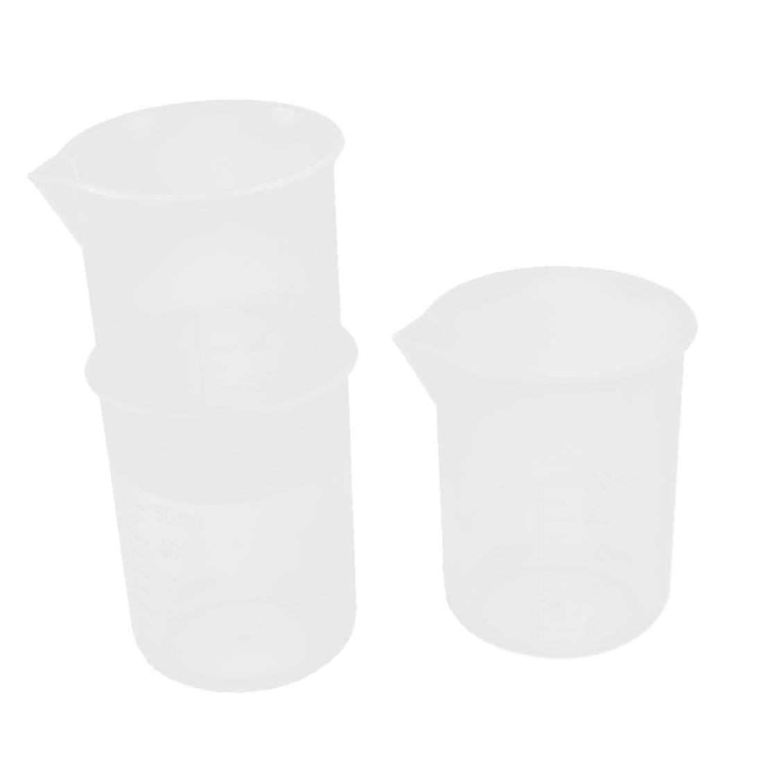 Lab 50ml Clear Plastic Graduated Beaker Measuring Cup Container Tool 3pcs