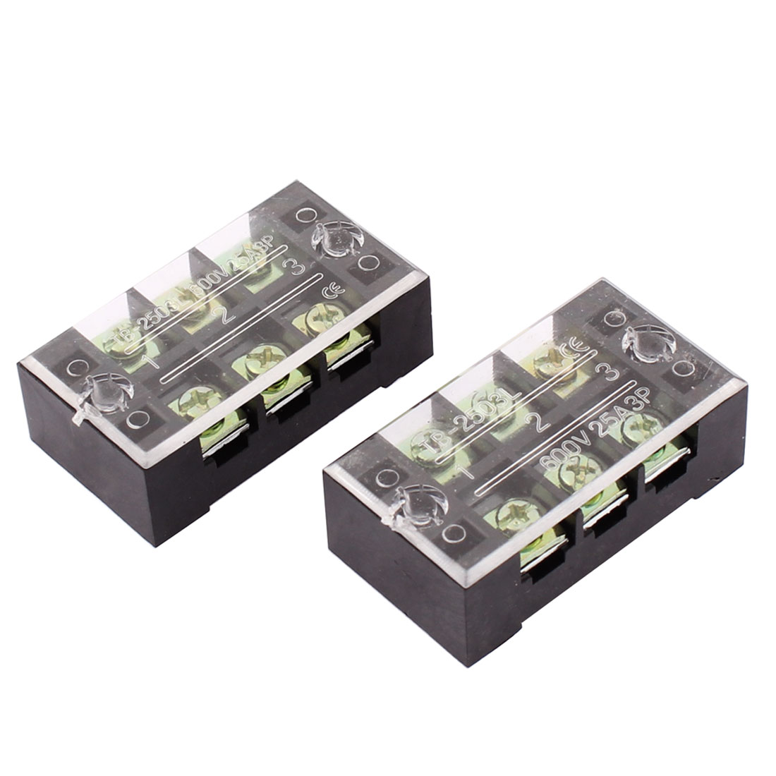 2pcs 600V 25A Electric 3 Positions Screw Terminal Barrier Block Strip