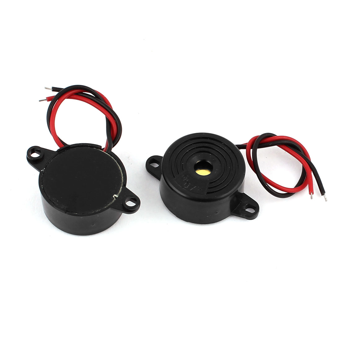 2 Pcs DC24V 2-Wired Miniature Continuous Sound Electronic Alarm Buzzer Black