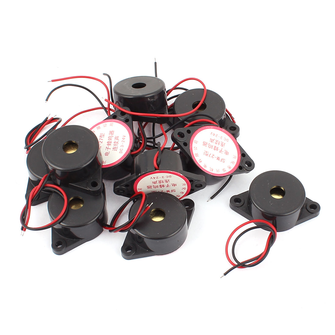 10 Pcs SFM27 DC3-24V 2-Wired Continuous Sound Electronic Alarm Buzzer Black