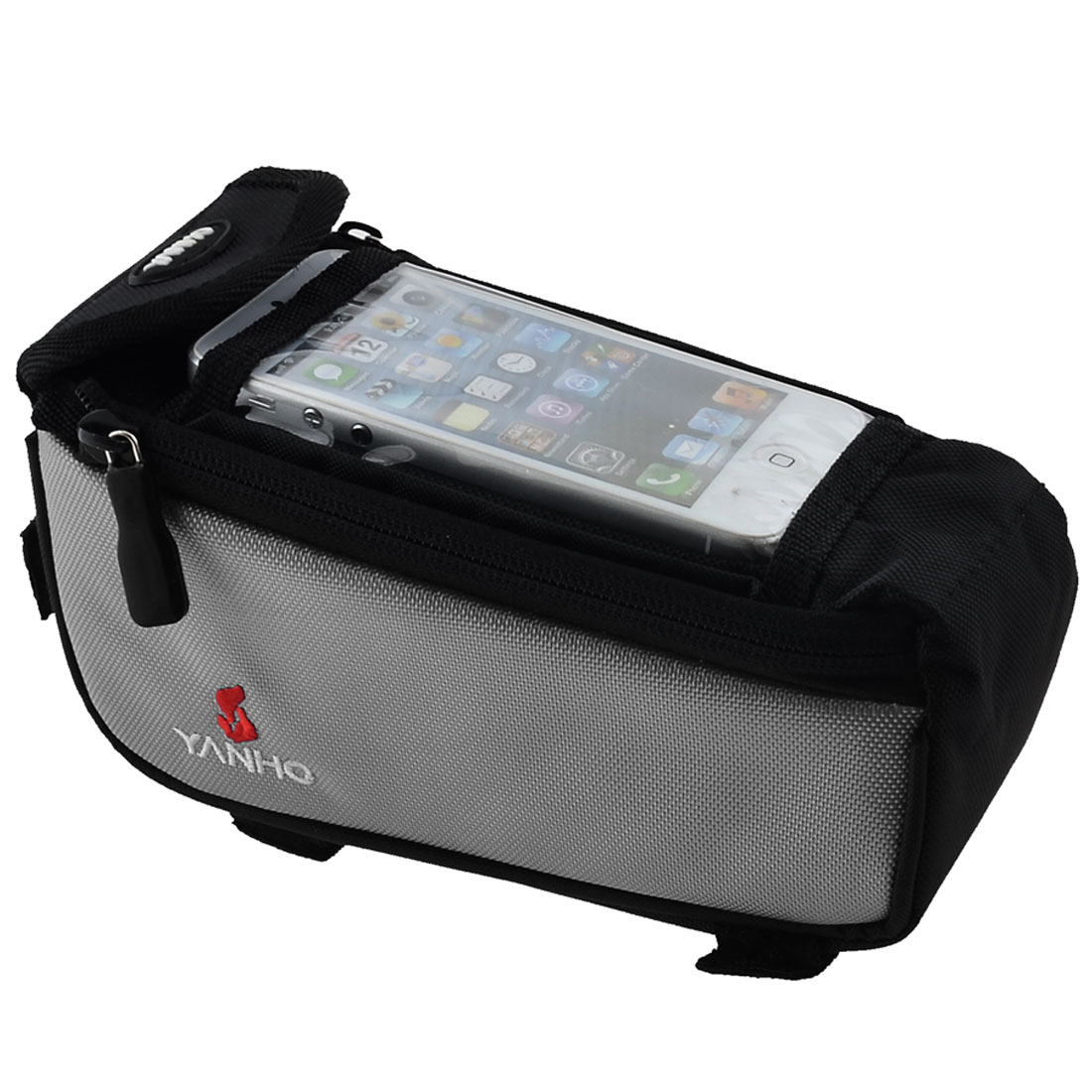 Cycling Bike Bicycle Front Tube Cell Phone Bag Pouch Case Support Gray