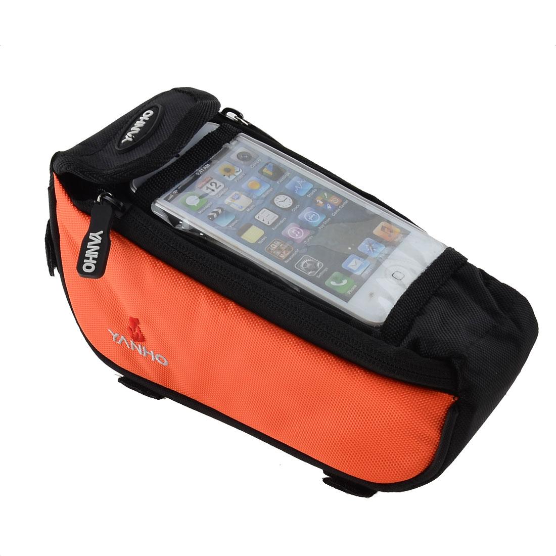 Bike Bicycle Front Top Tube Bag Pannier Case Cell Phone Holder Orange