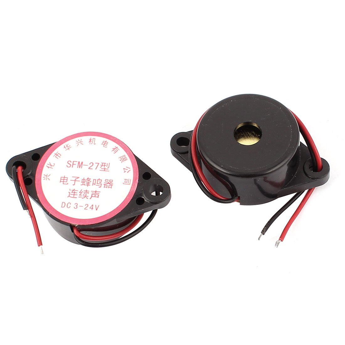 2 Pcs SFM27 DC3-24V 2-Wired Continuous Sound Electronic Alarm Buzzer Black