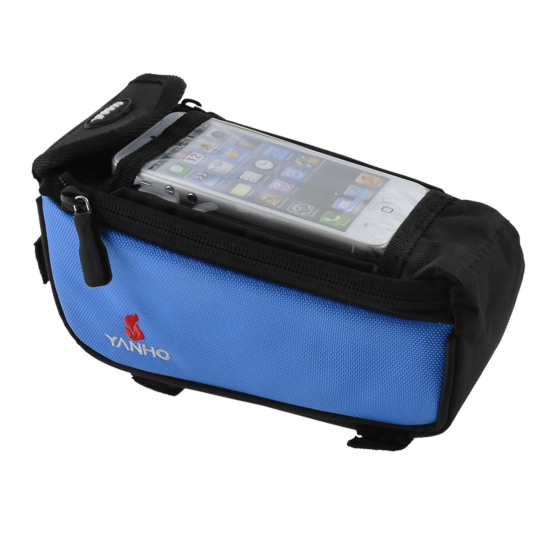 Outdoor Bicycle Front Tube Bag Pannier Case Cell Phone Holder Blue