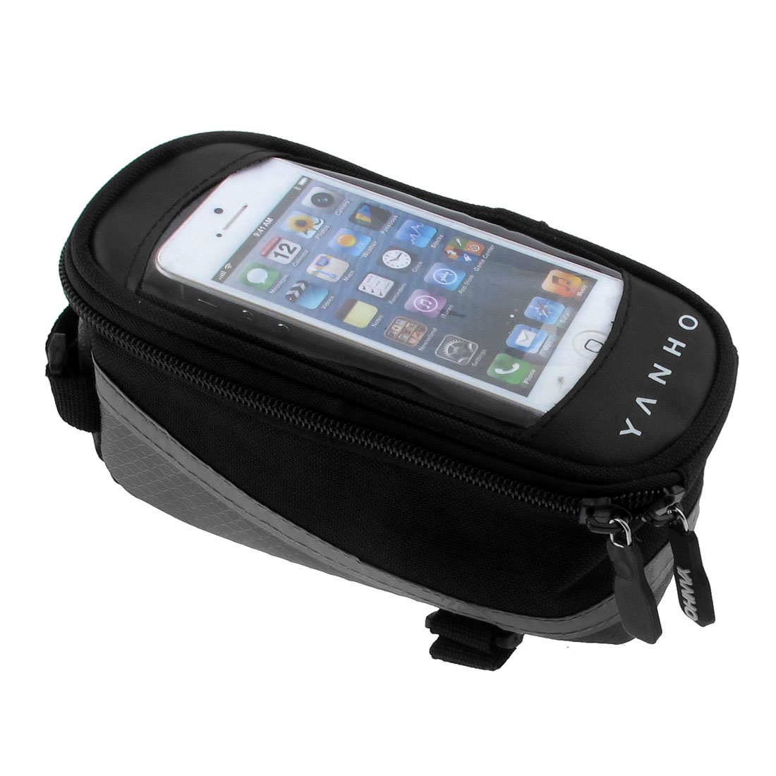 Cycling Bike Bicycle Top Tube Bag Case Pannier Cell Phone Holder Black