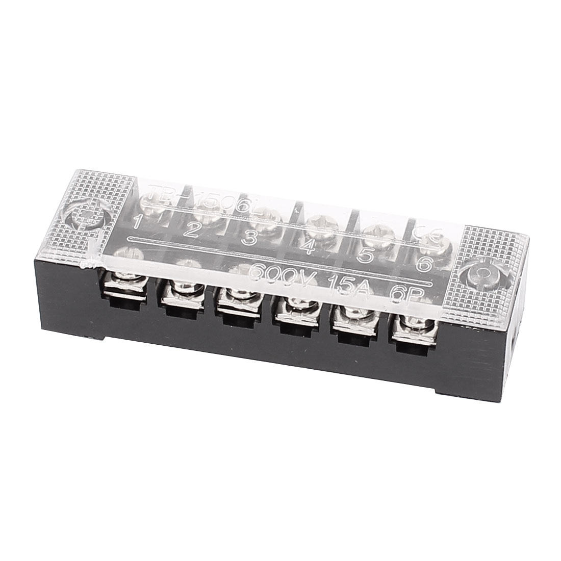 600V 15A 6P Dual Row Electric Barrier Terminal Block Cable Connector Bar