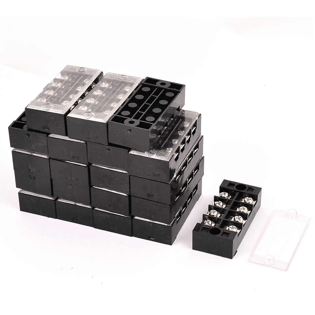 20 Pcs 600V 25A 4P Dual Row Electric Barrier Terminal Block Cable Connector Bar