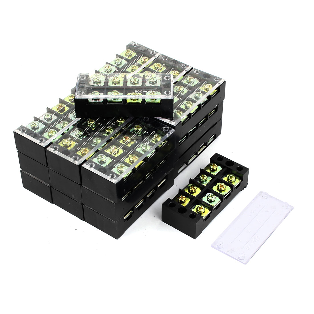 20 Pcs 600V 45A Double Row 4 Position Screw Terminal Blocks TB4504