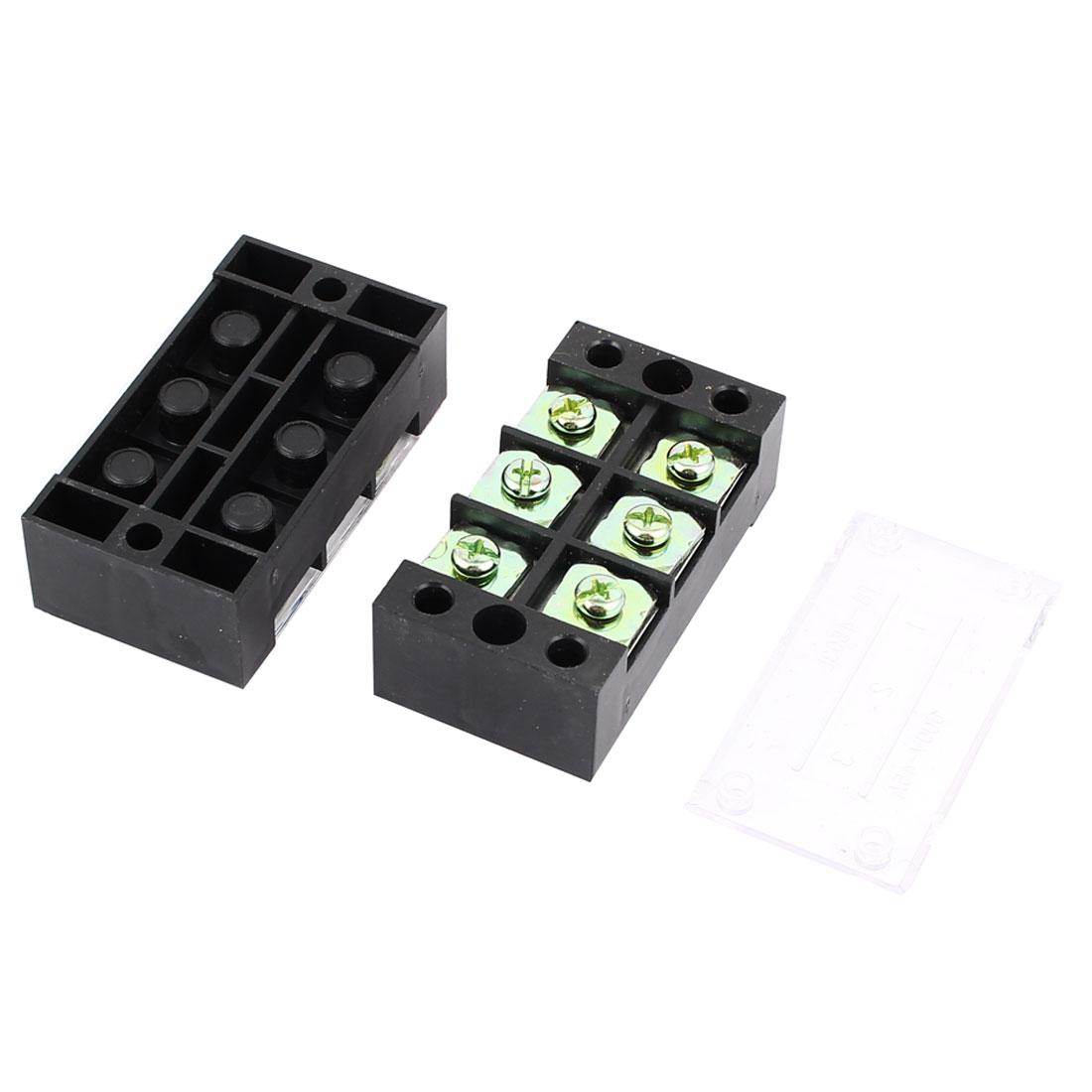 2 Pcs 600V 45A Double Row 3 Position Screw Terminal Barrier Blocks TB4503